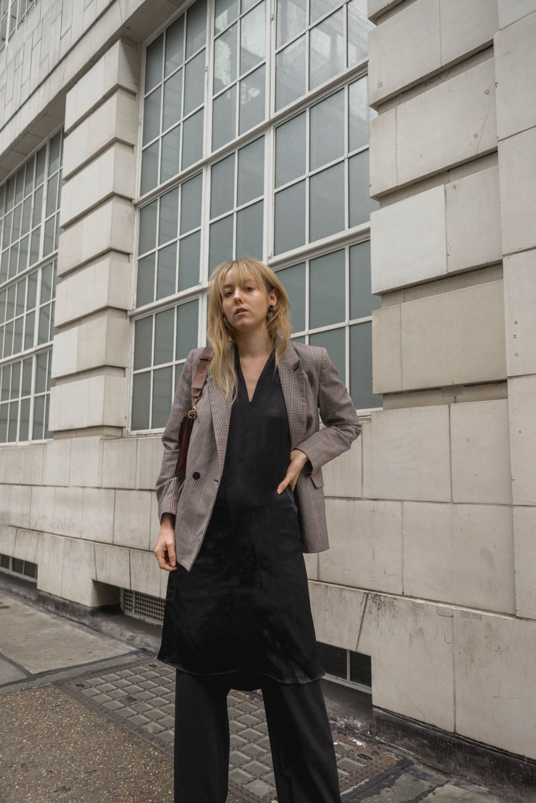 Outfit: Layering Satin Dress and Blazer
